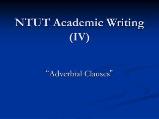NTUT Academic Writing (IV)