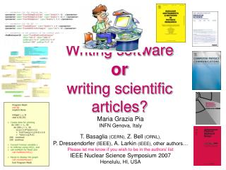 Writing software  or  writing scientific articles?