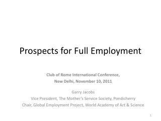 Prospects for Full Employment