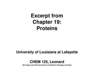 Excerpt from Chapter 19: Proteins