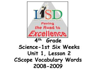 4 th   Grade   Science-1st Six Weeks   Unit 1, Lesson 2  CScope Vocabulary Words 2008-2009