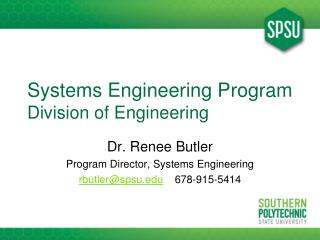 Systems Engineering Program Division of Engineering