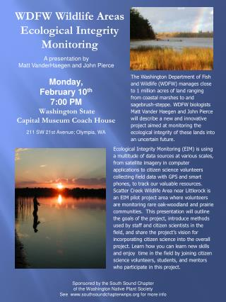 WDFW Wildlife Areas Ecological Integrity Monitoring
