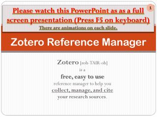 Zotero Reference Manager