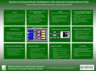 Expected and Unexpected Results: Establishment of a New Community-Participatory Research Center