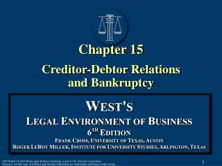 Chapter 15 Creditor-Debtor Relations  and Bankruptcy