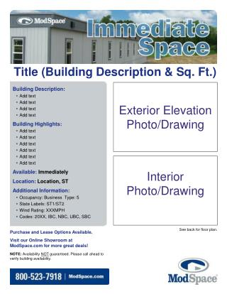 Title (Building Description & Sq. Ft.)