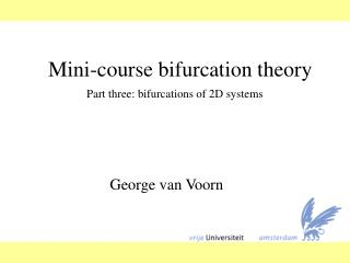 Mini-course bifurcation theory