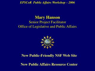 EPSCoR  Public Affairs Workshop – 2006
