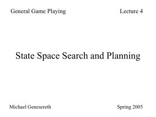 State Space Search and Planning