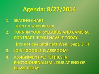 Agenda: 8/27/2014