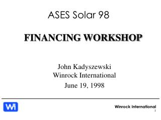 FINANCING WORKSHOP