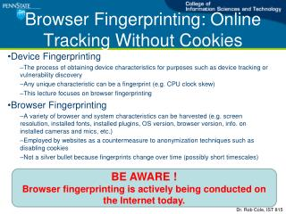 Browser Fingerprinting: Online Tracking Without Cookies