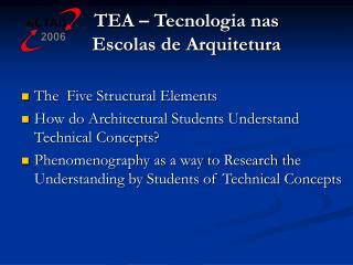 TEA – Tecnologia nas Escolas de Arquitetura