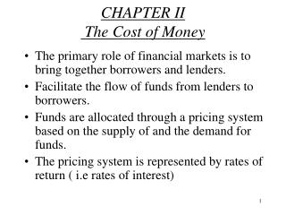 CHAPTER II  The Cost of Money