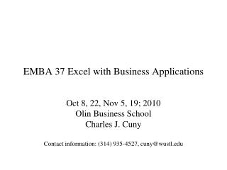 EMBA 37 Excel with Business Applications
