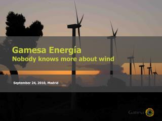 Gamesa Energía Nobody knows more about wind