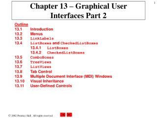 Chapter 13 – Graphical User Interfaces Part 2
