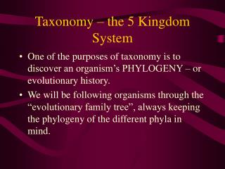 Taxonomy – the 5 Kingdom System