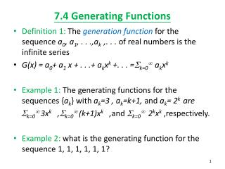 7.4 Generating Functions