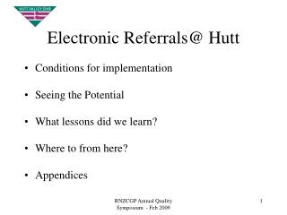 Electronic Referrals@ Hutt