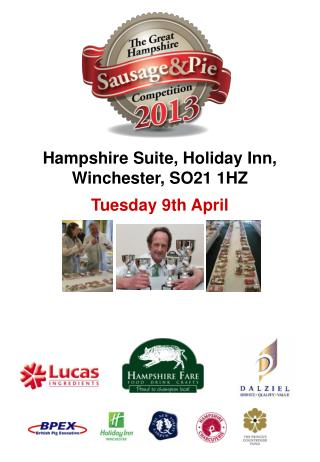 Hampshire Suite, Holiday Inn, Winchester, SO21 1HZ Tuesday 9th April