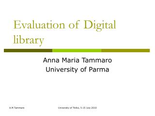 Evaluation of Digital library