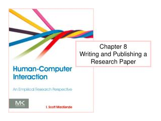 Chapter 8 Writing and Publishing a Research Paper