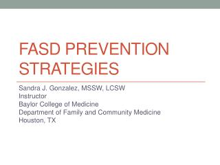 Fasd  prevention strategies