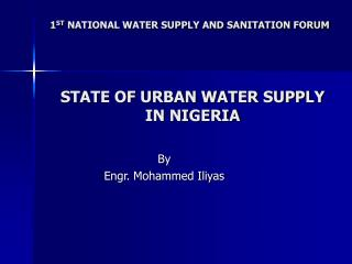 STATE OF URBAN WATER SUPPLY IN NIGERIA