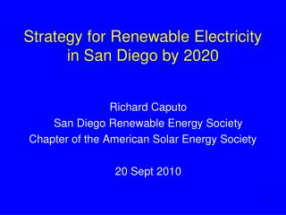 Strategy for Renewable Electricity in San Diego by 2020