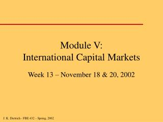 Module V: International Capital Markets