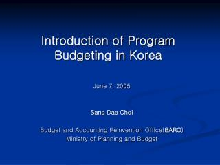 Introduction of Program Budgeting in Korea