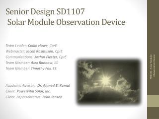 Senior Design SD1107 Solar Module Observation Device