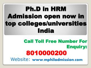 Distance Learning Ph.D in HRM in Top Colleges INDIA