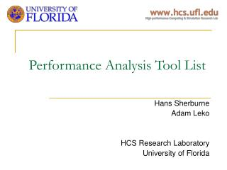 Performance Analysis Tool List