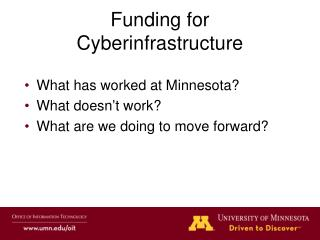 Funding for Cyberinfrastructure