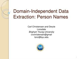 Domain-Independent Data Extraction: Person Names