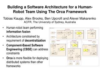 Building a Software Architecture for a Human-Robot Team Using The Orca Framework