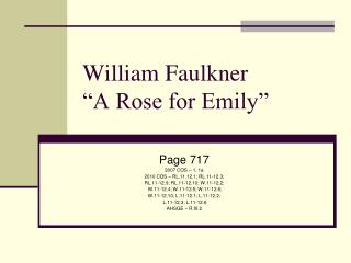 "William Faulkner ""A Rose for Emily"""