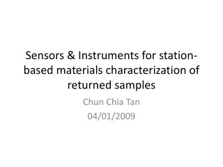 Sensors  Instruments for station-based materials characterization of returned samples