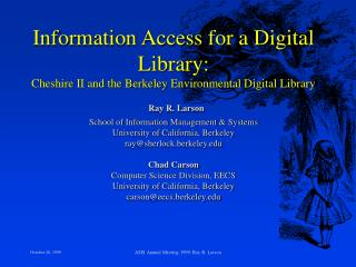 UCB Digital Library Project: Research Agenda