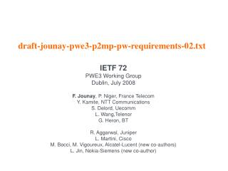 draft-jounay-pwe3-p2mp-pw-requirements-02.txt