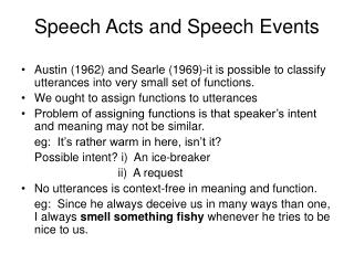 Speech Acts and Speech Events