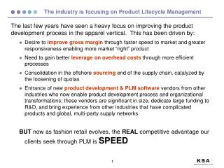 The industry is focusing on Product Lifecycle Management