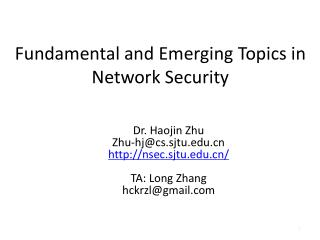 Fundamental and Emerging Topics in Network Security