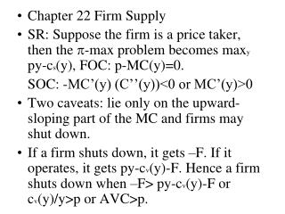 Chapter 22 Firm Supply