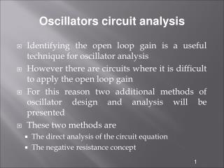 Oscillators circuit analysis