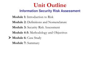 Unit Outline Information Security Risk Assessment