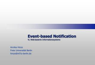 Event-based Notification VL Web-basierte Informationssysteme